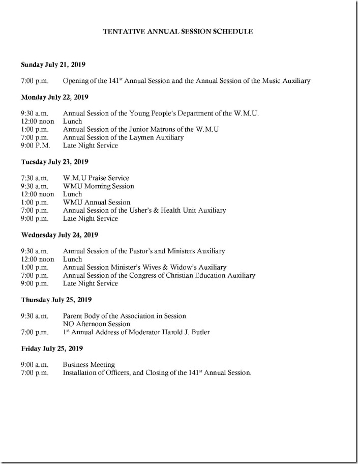 2019 Annual Session Activites for the Week
