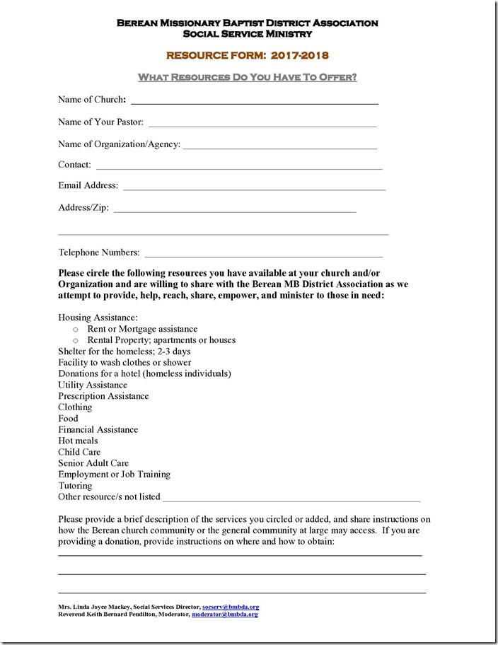 Social Services Resource Form